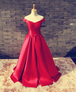 Red V Neck Satin Long Prom Gown, Formal Dress