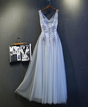 Load image into Gallery viewer, Gray V Neck Lace Tulle Long Prom Dress, Lace Evening Dress