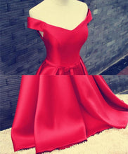 Load image into Gallery viewer, Red V Neck Satin Long Prom Gown, Formal Dress