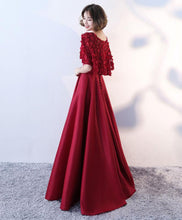 Load image into Gallery viewer, Simple Burgundy Swet Neck Long Prom Dress, Two Piece Evening Dress