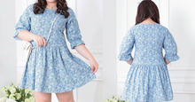 Load image into Gallery viewer, XL-4XL Blue Kawaii Geometric Figure Printing Dress SP165351