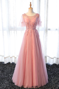Pink A Line Tulle Lace Long Prom Dress, Lace Evening Dress