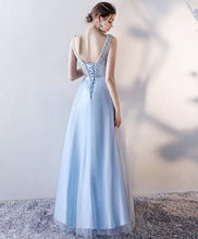 Load image into Gallery viewer, Light Blue Tulle Long Prom Dress, Blue Evening Dress