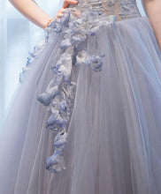 Load image into Gallery viewer, Gray Tulle Lace Short Prom Dress, Homecoming Dress