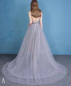 Stylish Gray Tulle Lace Long Prom Dress, Evening Dress