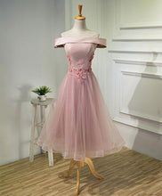Load image into Gallery viewer, Pink A Line Off Shoulder Tea Length Prom Dress, Lace Evening Dress