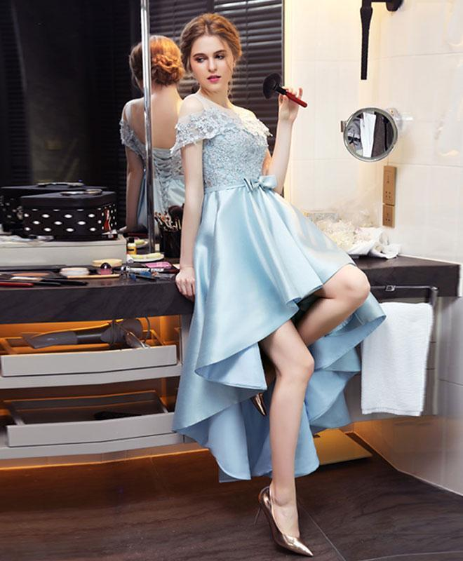 Light Blue Satin Lace Prom Dress, Evening Dress