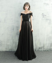 Load image into Gallery viewer, Black Lace Tulle Long Prom Dress, Black Evening Dress