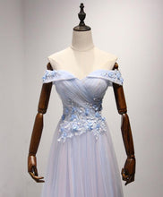 Load image into Gallery viewer, Light Blue Tulle Lace Long Prom Dress, Lace Evening Dress