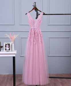 Pink V Neck Lace Tulle Long Prom Dress, Lace Evening Dresses