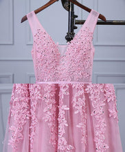 Load image into Gallery viewer, Pink V Neck Lace Tulle Long Prom Dress, Lace Evening Dresses
