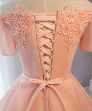 Load image into Gallery viewer, Pink A-Line Tulle Short Sleeve Lace Short Prom Dress,Formal Dress