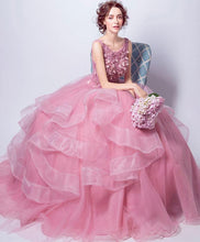 Load image into Gallery viewer, Pink Round Neck Tulle Lace Long Prom Dress, Sweet 16 Dress