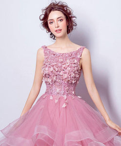 Pink Round Neck Tulle Lace Long Prom Dress, Sweet 16 Dress
