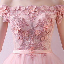 Load image into Gallery viewer, Pink Tulle Lace Long Prom Dress, Lace Evening Dress