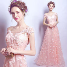 Load image into Gallery viewer, Pink Tulle Lace Long Prom Dress, Pink Evening Dress