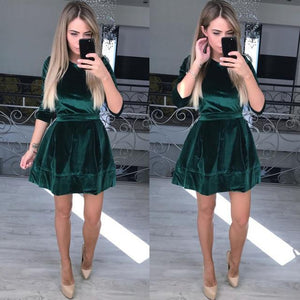Pink/Wine/Green/Black Velvet Party Dress SP14680
