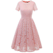 Load image into Gallery viewer, 4 Colors Short Sleeve Joint Lace Dress SP14461