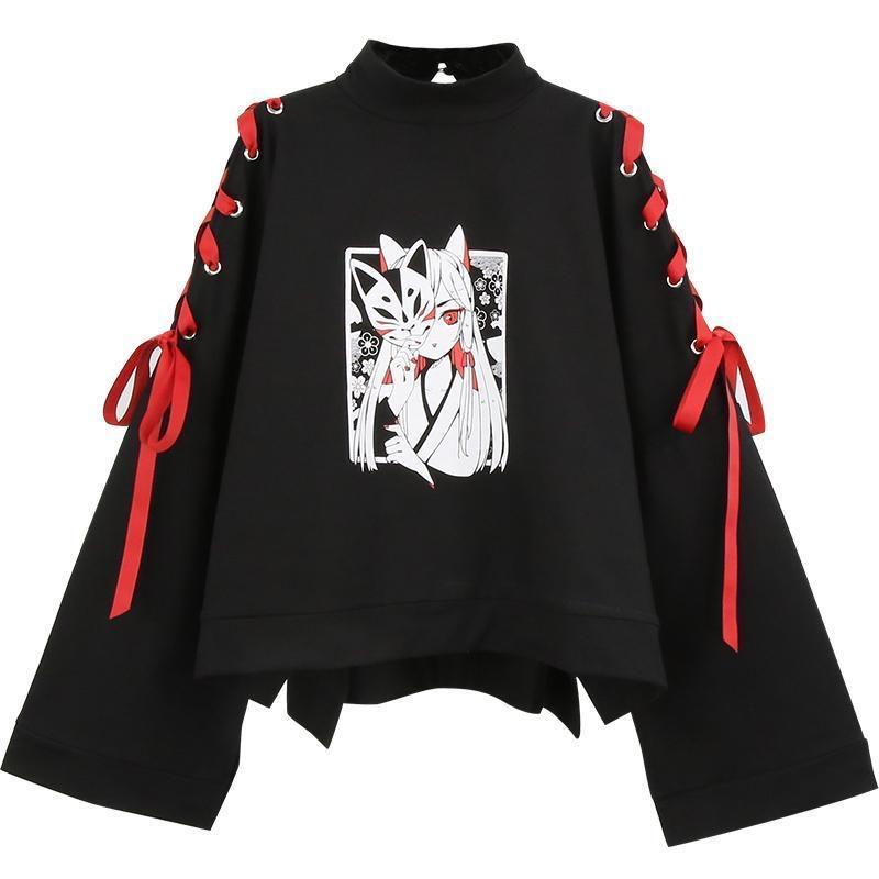 Anime Fox Printed Cross Ribbon Lolita Hoodie Jumper SP14973