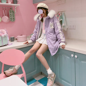 Kawaii Rabbit Bunny Sweet Pink & Lavendar Cute Parka Coat SY13172