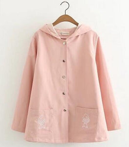 Kawaii Cat Embroidery Lace Hooded Jacket S13007
