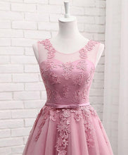 Load image into Gallery viewer, Pink Round Neck Lace Tulle Prom Dress, Lace Evening Dresses