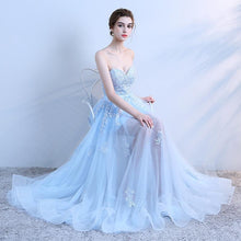 Load image into Gallery viewer, Sky Blue Lace Long Prom Dress, Lace Evening Dress