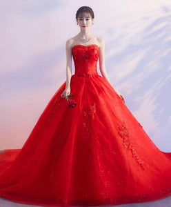 Red Sweetheart Neck Lace Long Prom Dress, Sweet 16 Dress