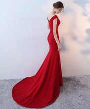 Load image into Gallery viewer, Red V Neck Mermaid Long Prom Dress, Red Evening Dress