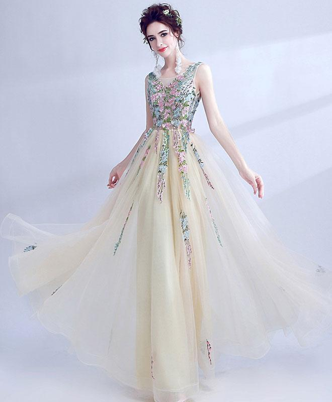 Light Champagne Tulle Long Prom Dress, Evening Dress