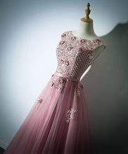 Load image into Gallery viewer, Pink Lace Tulle Long Prom Dress, Pink Evening Dress
