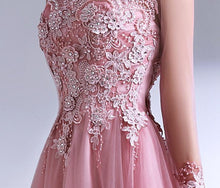 Load image into Gallery viewer, Pink Lace Tulle Long Prom Dress, Long Sleeve Evening Dress