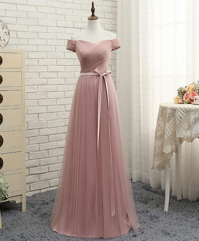 Pink A Line Tulle Off Shoulder Long Prom Dress, Cheap Evening Dress