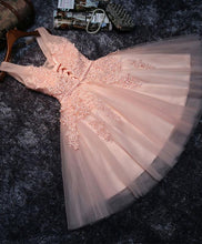 Load image into Gallery viewer, Pink V Neck Tulle Lace Short Prom Dress, Homecoming Dresses