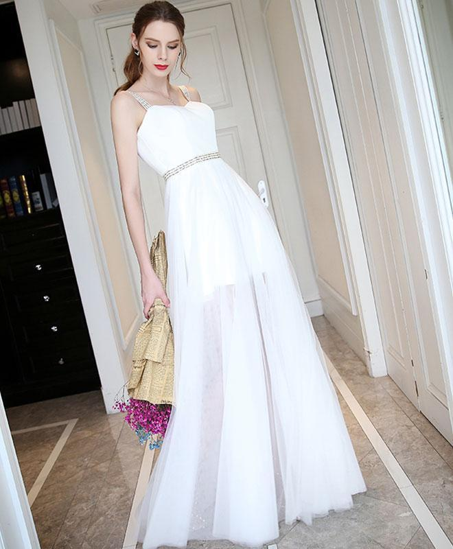 White Sweetheart Neck Long Prom Dress, White Evening Dress