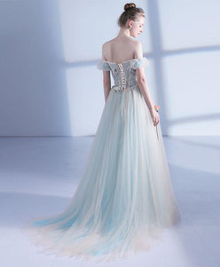 Unique Light Green Tulle Long Prom Dress, Evening Dress