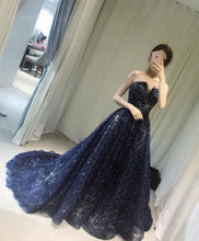 Load image into Gallery viewer, Blue Long Prom Gown, Blue Evening Dress, Formal Dress
