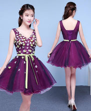 Load image into Gallery viewer, Purple V Neck Tulle Short Prom Dress, Homecoming Dress