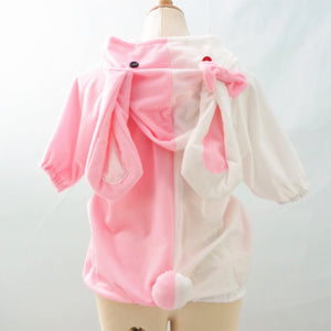 Danganronpa Monomi Pink/White Cute Hoodie Short Sleeve Pull Over Jumper Top  SP140858