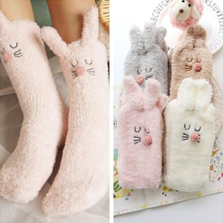 4 Colors Rabbit Ears Coral Fleece Warming Socks SP168452