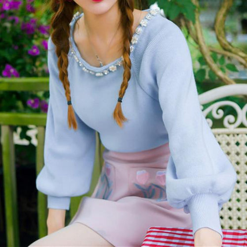 4 Colors Sweet Princess Puff Sleeve Knitting Shirt SP178652