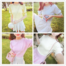 Load image into Gallery viewer, 4 Colors Sweet Princess Puff Sleeve Knitting Shirt SP178652