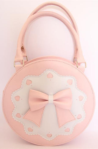 7 Colors Lolita Bowknot Round Cylinder PU Hand Bag SP140345