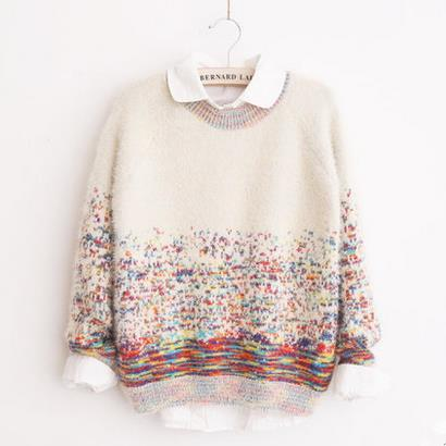 Beige/Blue Colorful Spot Pullover Sweater SP1710514