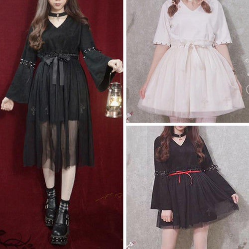 Black/Beige Vampire Cross Choker Top/Pantskirt/Gauze Skirt SP168060