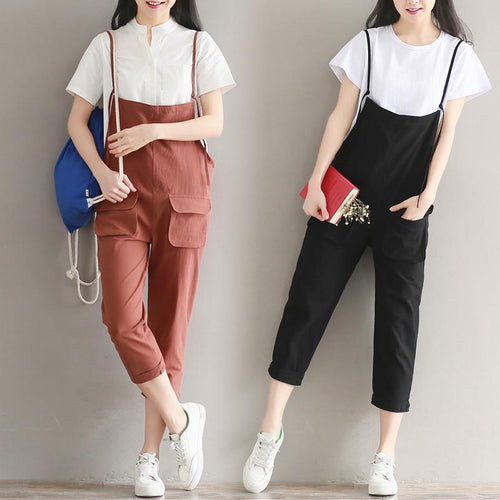 Black/Dark Red/Green Summer Leisure Overalls Pants SP1710056