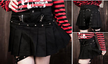 Load image into Gallery viewer, Black/Red Punk Plaid Garter Skirt SP178831