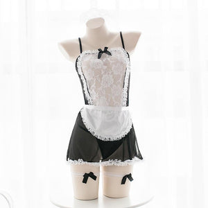 Black/White Lace Maid Cosplay Uniform Dress S12679
