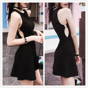 Black Circle Choker Summer Dress SP179985