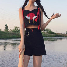 Load image into Gallery viewer, Black Kawaii Red-Crowned Crane Top & Skirt Set SP1812515